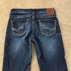 Big Star Kayla Straight Dark Blingy Jeans-short!